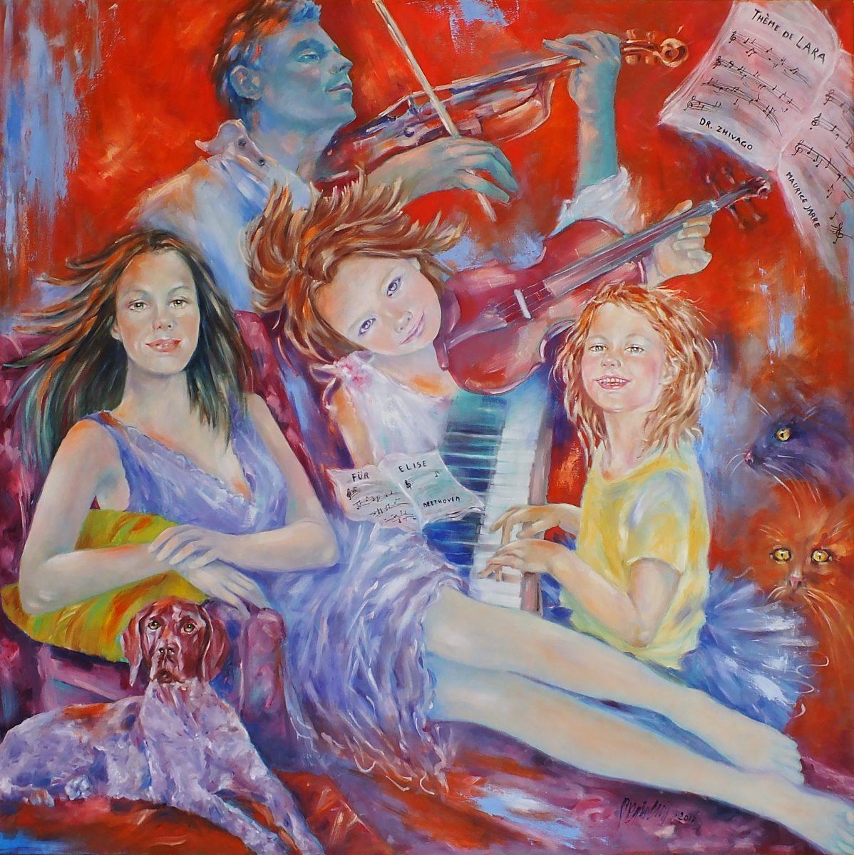 Prova d orchestra 100x100 olio su tela